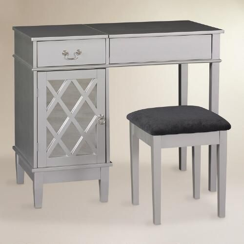Our Silver Wood Dressing Table And Black Microfiber Seat Enhance Any Modern  Or Contemporary Bedroom.