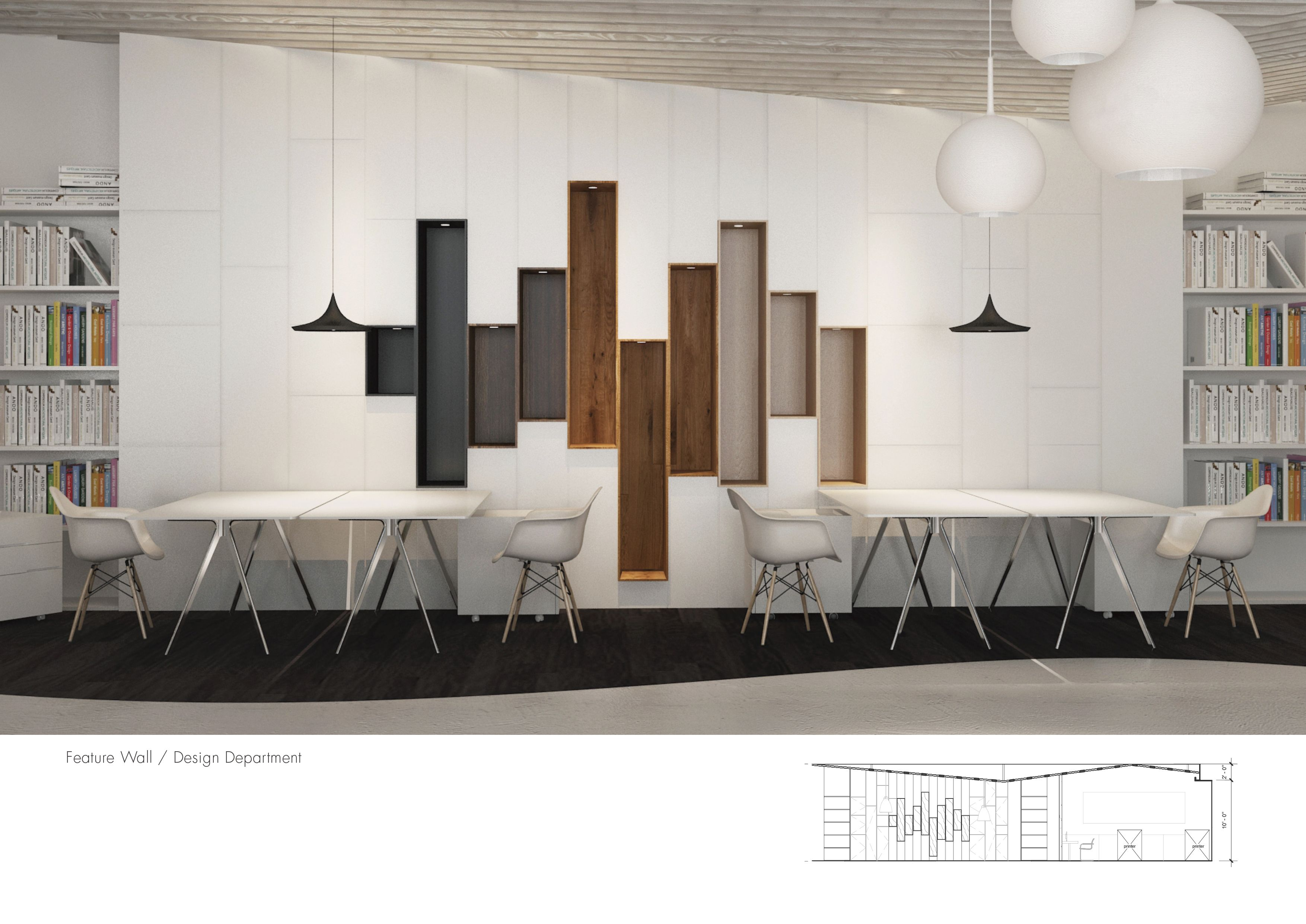 office feature wall. Music And Design Studio - In2 Interior Architecture Feature Wall, Working Office Wall