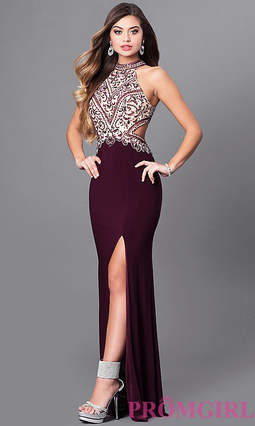 Image of long eggplant purple prom dress with beaded bodice. Style ...