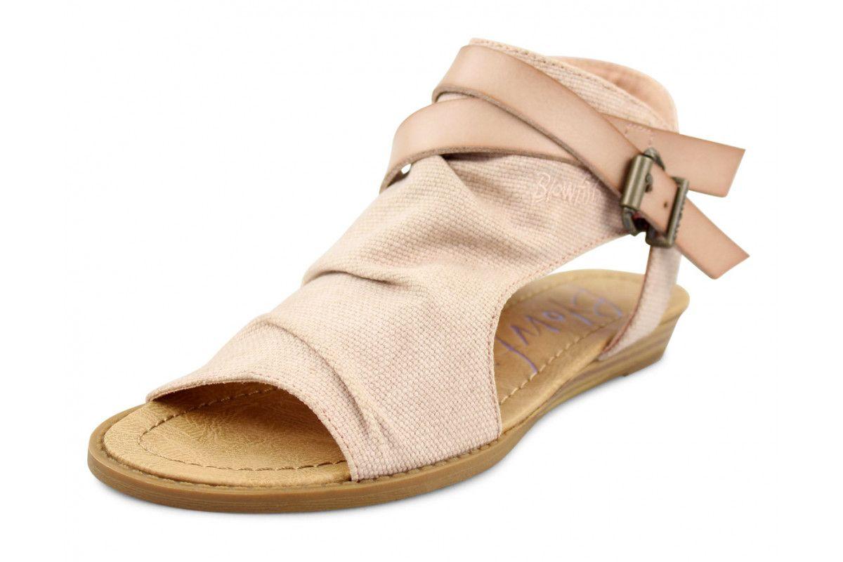 eaf2db8d85549 Blowfish Balla Blush Pink Rancher Canvas Low Wedge Sandals ...