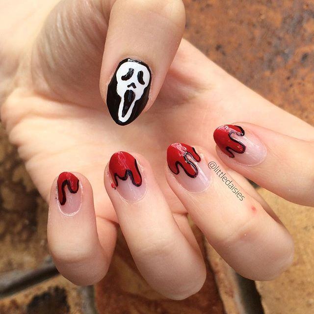 What S Your Favourite Scary Movie Nails Nailart Easyhalloweennails Halloween Ghostface Ghostfacen Halloween Nails Easy Halloween Nails Simple Nails