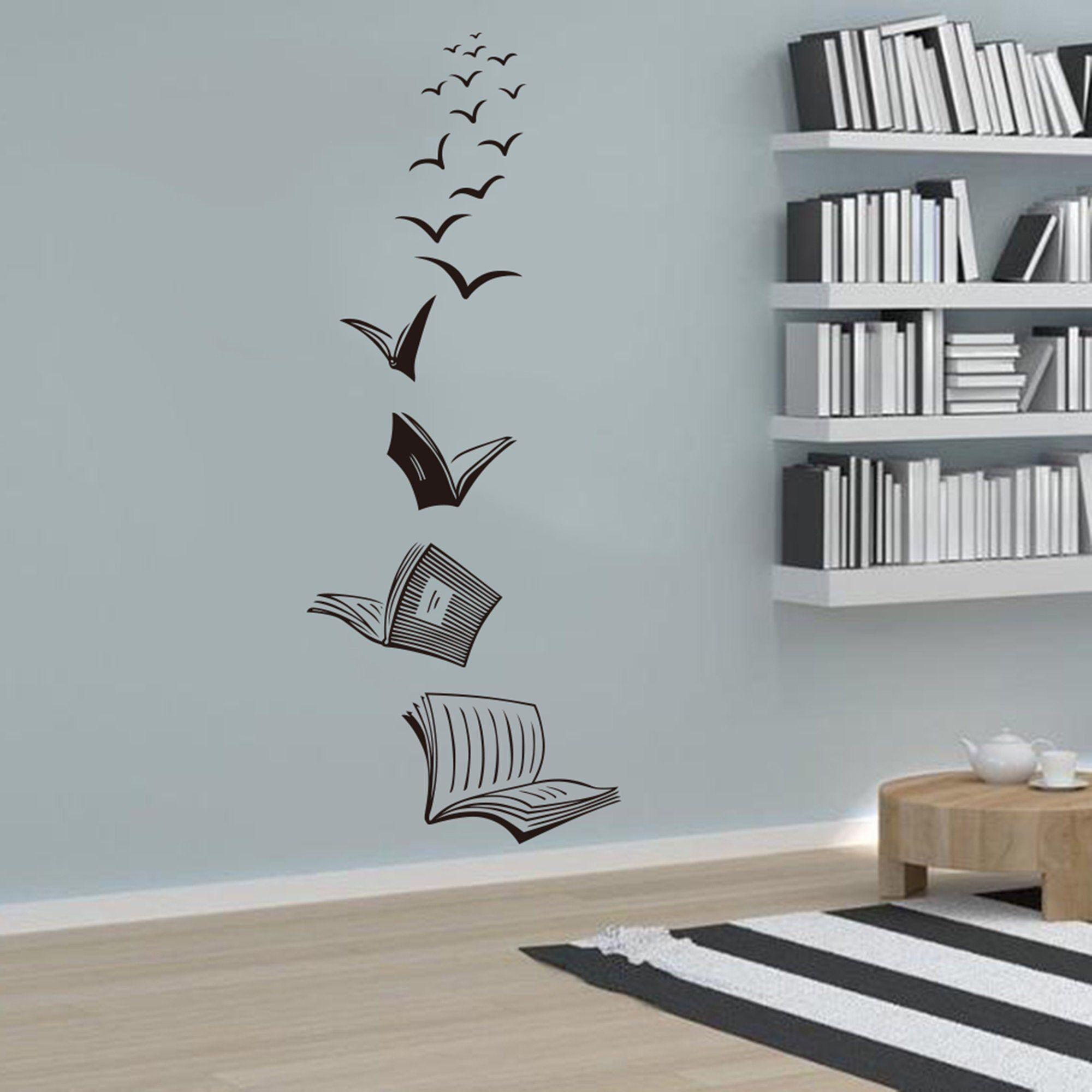 Reading Book Fly Birds Wall Decal Library School Classroom Decal Book Study Room Vinyl Wall Sticker Bed In 2020 Bird Wall Decals Wall Stickers Bedroom Bedroom Wall Art