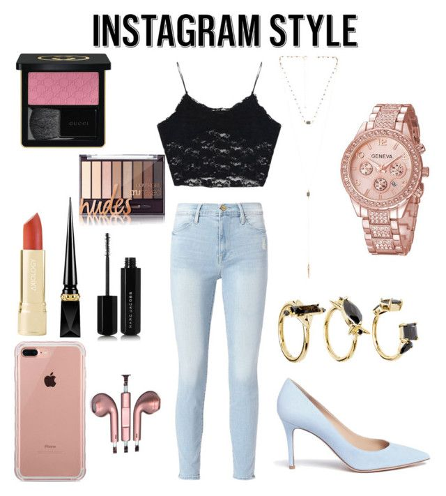 """Selfie Queen."" by giachrysa ❤ liked on Polyvore featuring Frame, Gianvito Rossi, Belkin, PhunkeeTree, 8 Other Reasons, Noir Jewelry, Gucci, Christian Louboutin, Marc Jacobs and 60secondstyle"