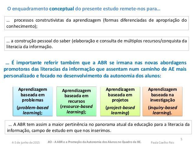 … processos construtivistas da aprendizagem (formas diferenciadas de apropriação do conhecimento); 5 Aprendizagem baseada ...