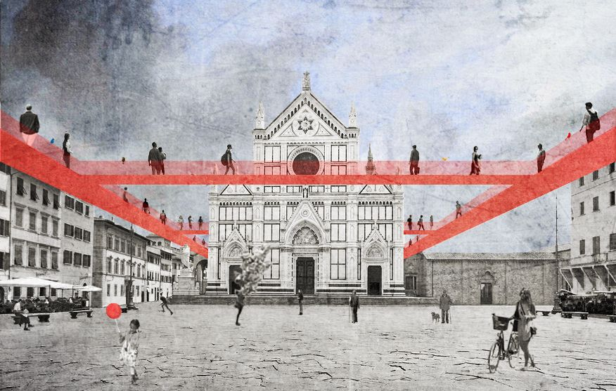 Collage - Architecture building ; The city of the future, Florence, Piazza Santa Crocie. The hanging bridges, a system of souspance bridges for the florence tourist.
