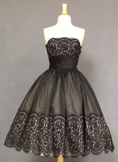 Black & Beige Organdy & Lace 1950's Cocktail Dress. Pinned on ...