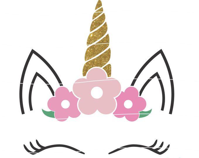 Svg de unicornio floral, svg cabeza floral Unicornio, unicornio con ...