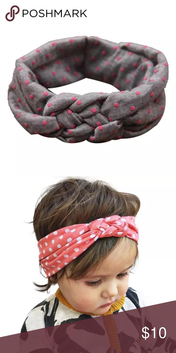 Baby boho knot headband NEW boho hippie head wrap in grey with pink polka  dots. 023371b7151