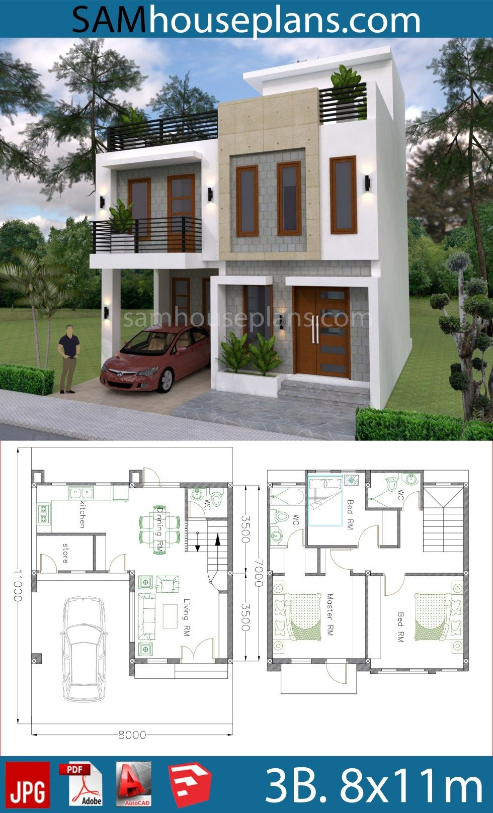 House Plans 8x11m With 3 Bedrooms Sam House Plans Model House Plan House Construction Plan Two Story House Design