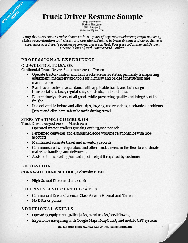 view a perfect truck driver resume sample and learn how to write