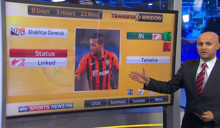 "Sky Sports News ""Shakhtar forward Alex Teixeira"