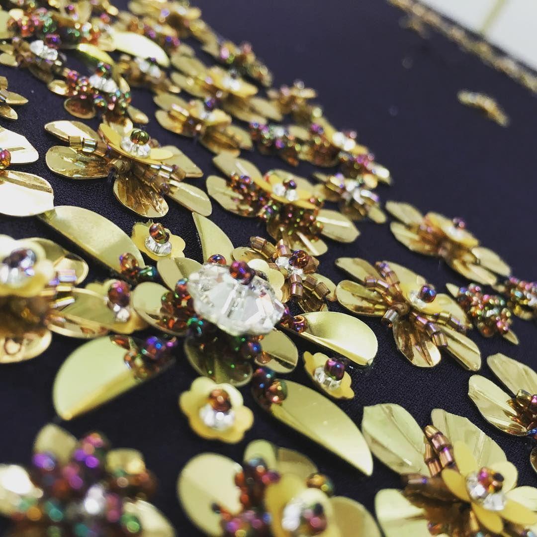 Gold mornings 🏵  #lenour #handmade #embroidery #gold #navy #blue #swarovski…