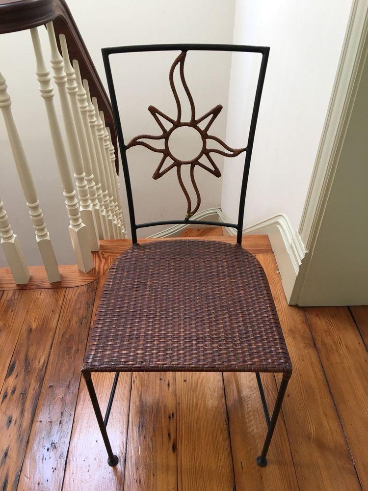 Gt Wrought Iron Metal Woven Wicker Chair Handmade In