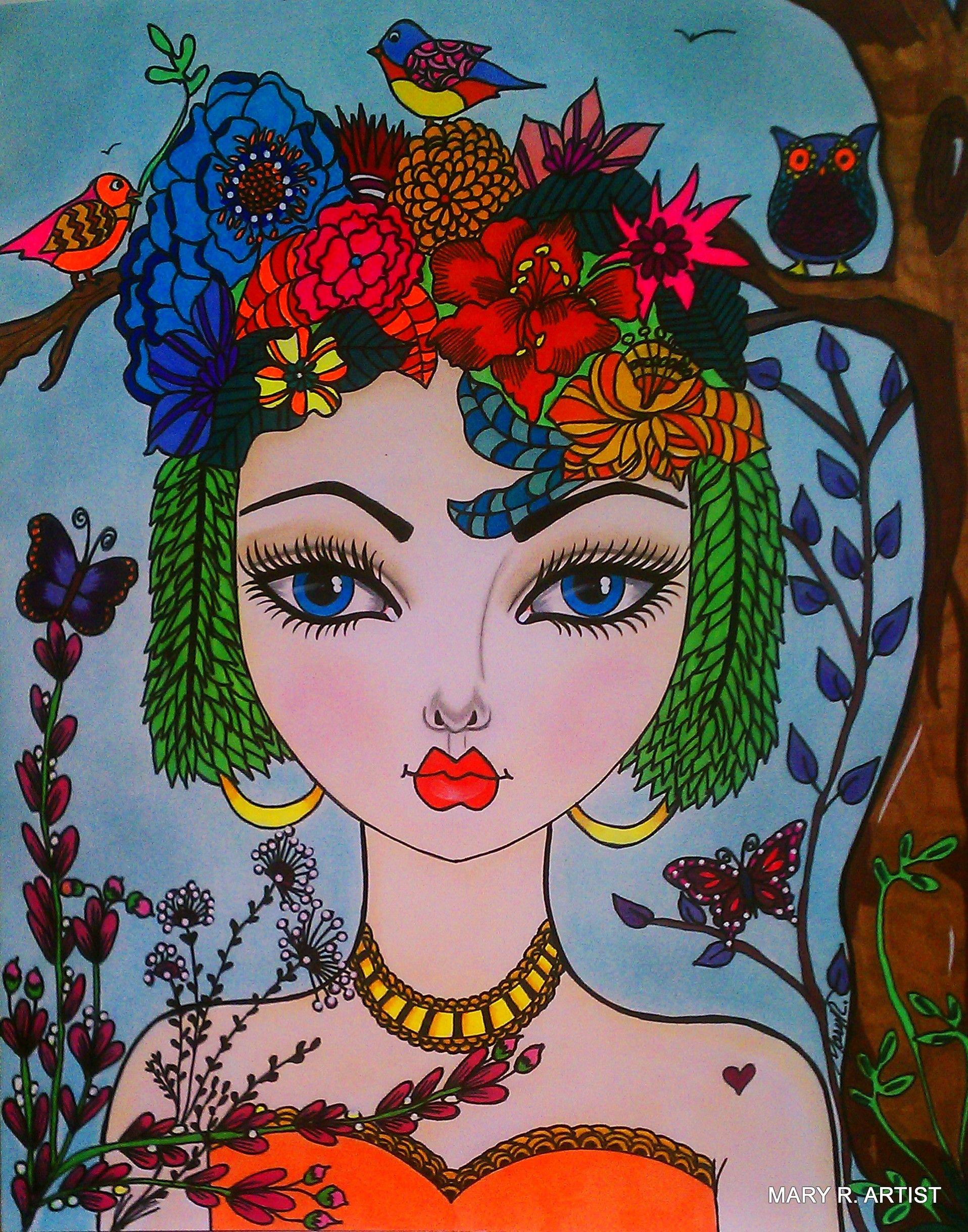 #WHIMSICAL GIRL # ART # BIG EYES ART