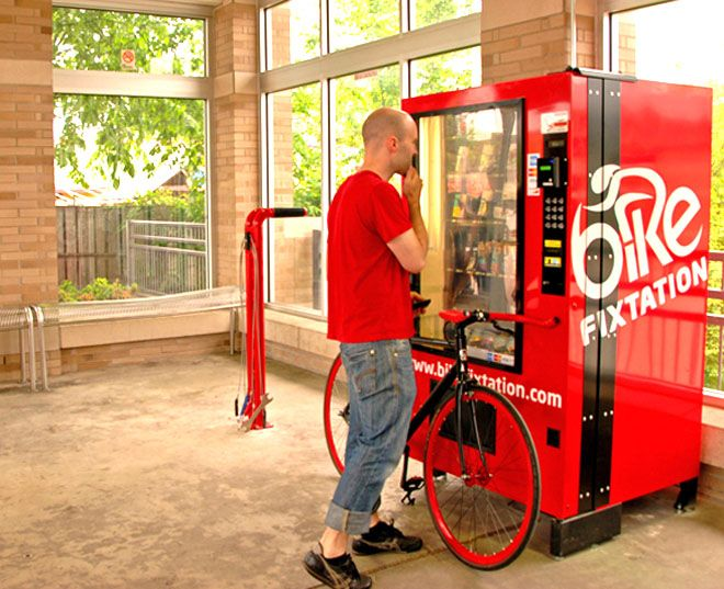 bike fix station and vending machines with tubes etc. Black Bedroom Furniture Sets. Home Design Ideas