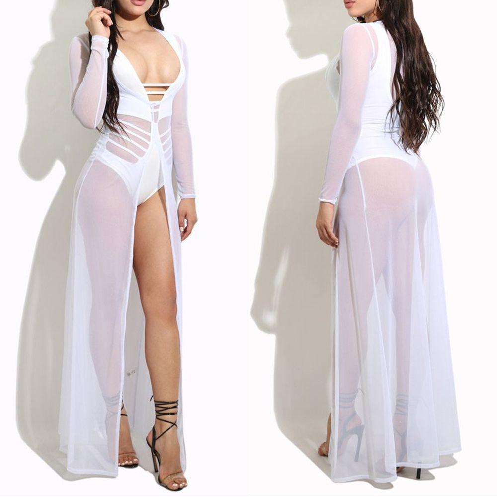 Women Bathing Suit Chiffon Crochet Bikini Cover Up Lady Swimwear Summer Beach Dress Swimsuit Cover Up White M #crochetbeachdress