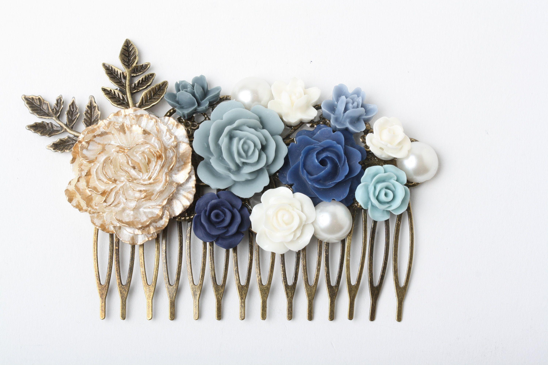 Bridal Hair Comb Navy Dusty Blue Hair Comb Blue Head Peice