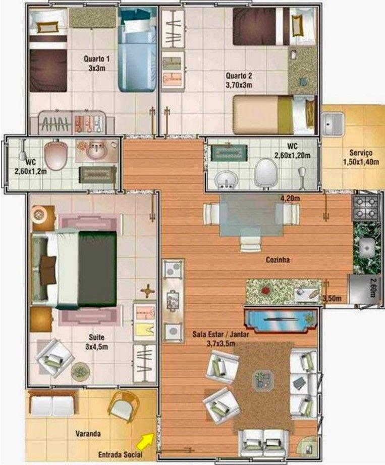 Plano de casa de 70 metros cuadrados con 3 dormitorios for Casa floor