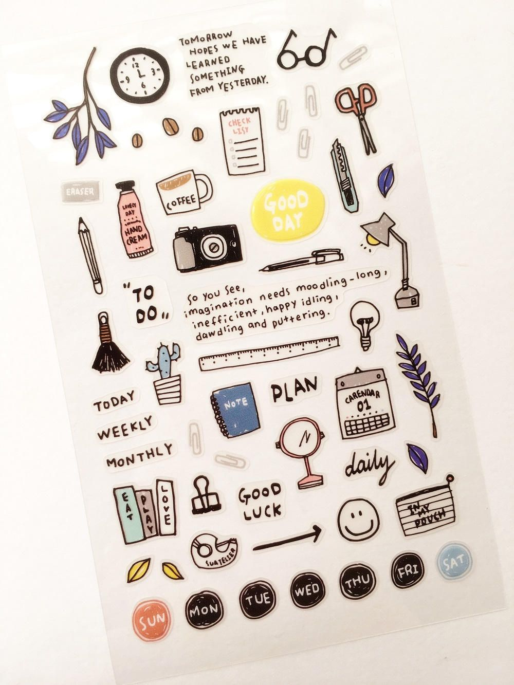 Daily Plan Planner Stickers // Scrapbooking embellishment ...