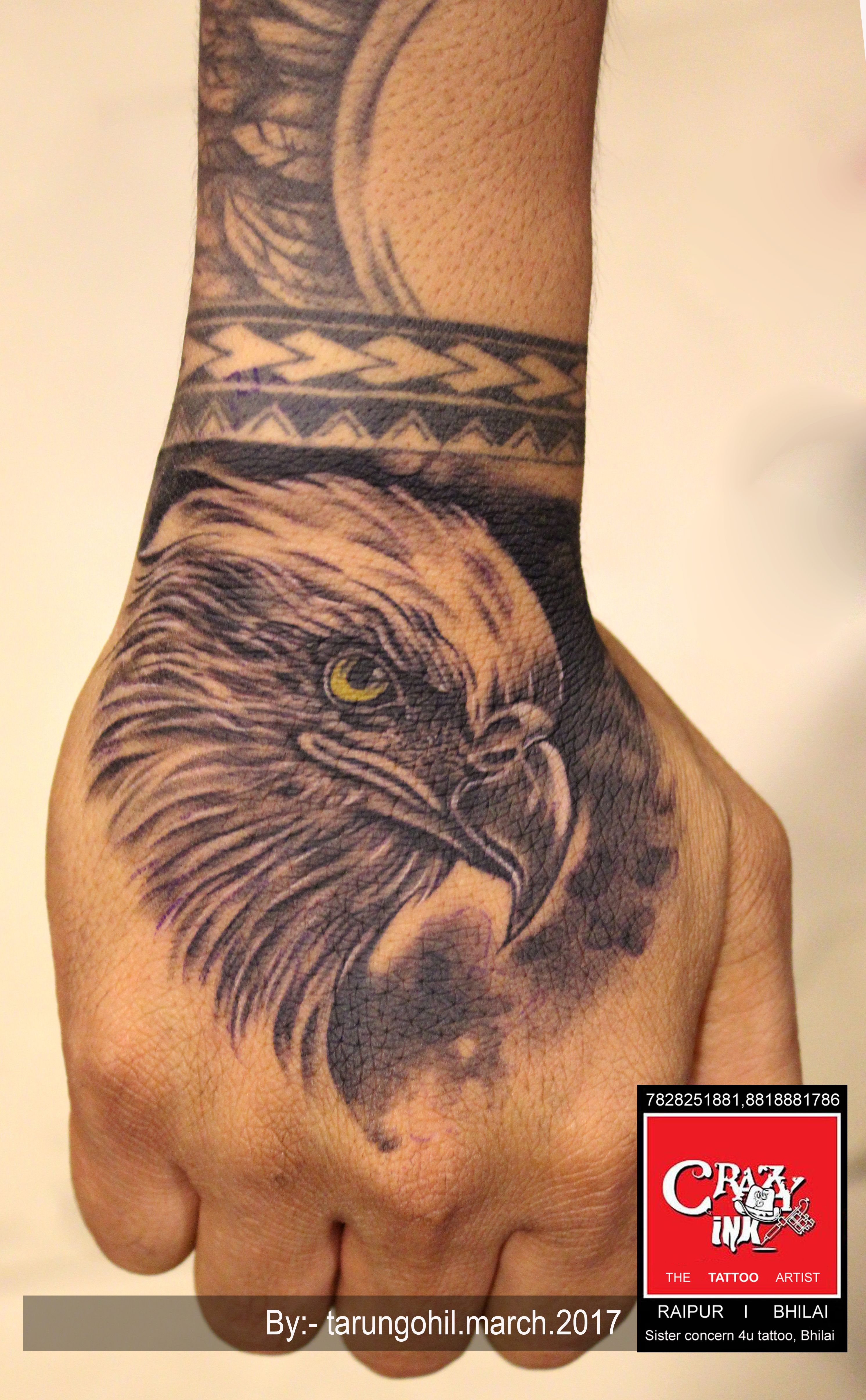 Eagle Portrait Tattoo On Hand For Men And Women Tattoo Done At