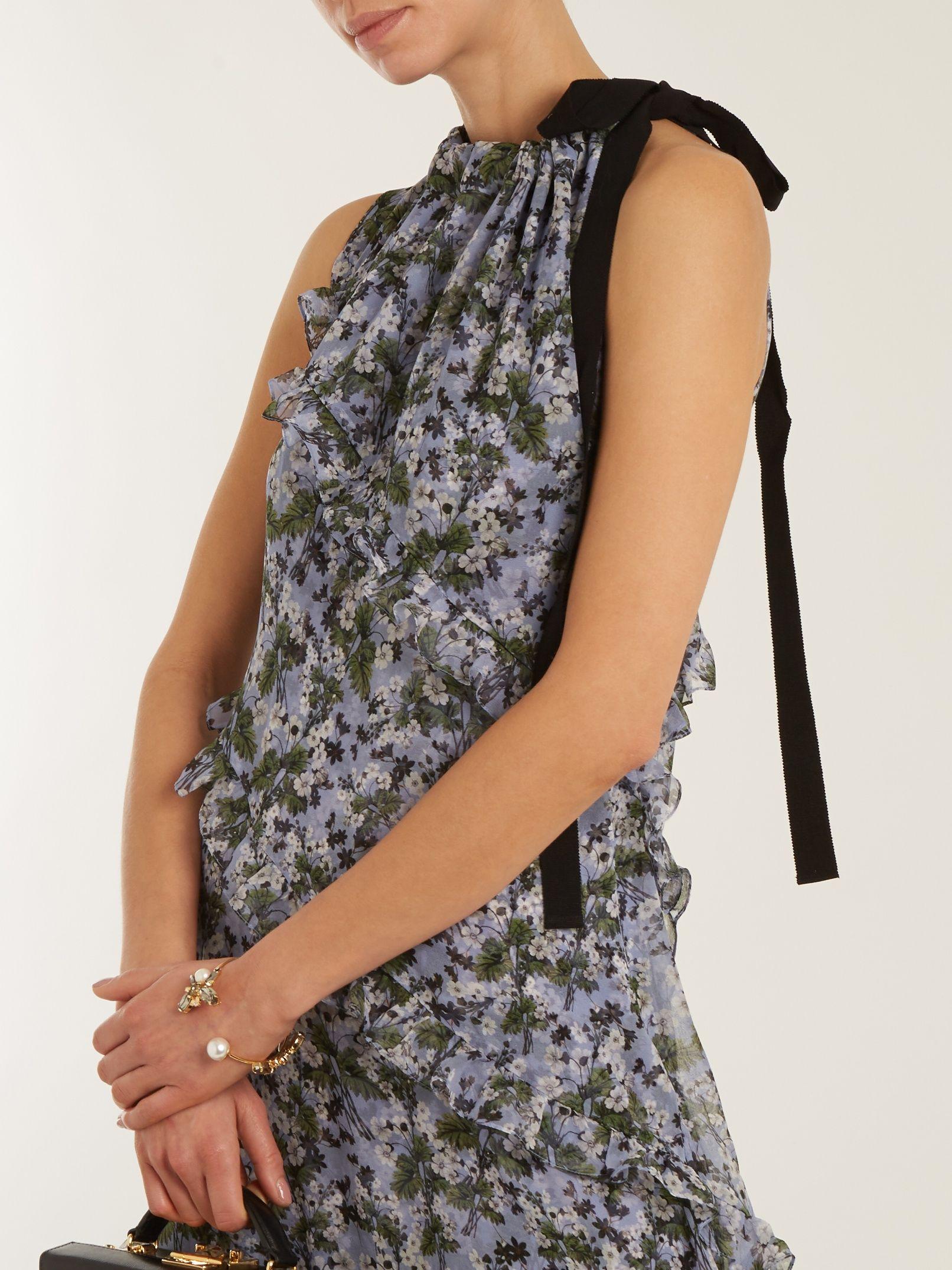 Discount Countdown Package Zandra drawstring-neck silk-georgette dress Erdem Huge Surprise Cheap Online Buy Cheap Authentic NUIWh3uMa