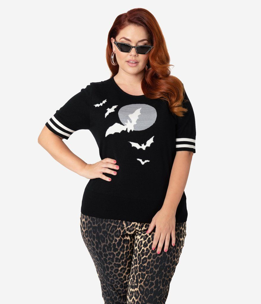 Hell Bunny Plus Size Black & White Nightflyer Sleeved Knit Sweater 17