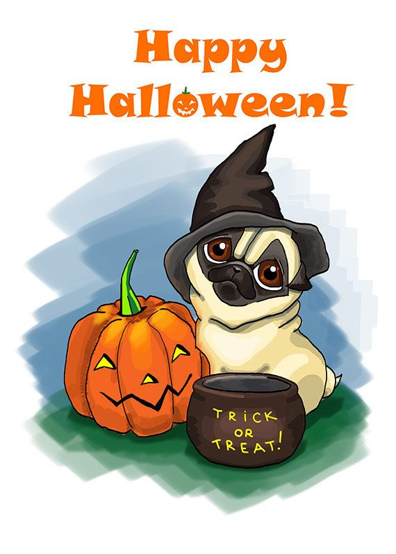 Pin by Fenekdolls on Halloween Halloween cards, Funny sketches, Pugs