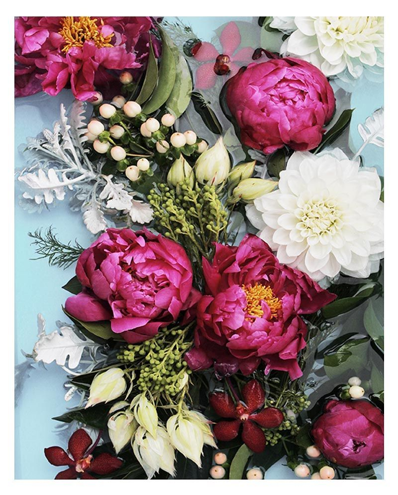 Blooming peonies art print floral wall art with deep