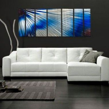 "All My Walls Abstract by Ash Carl Metal Wall Art in Blue and White - 23.5"" x 60"" - SWS00063"