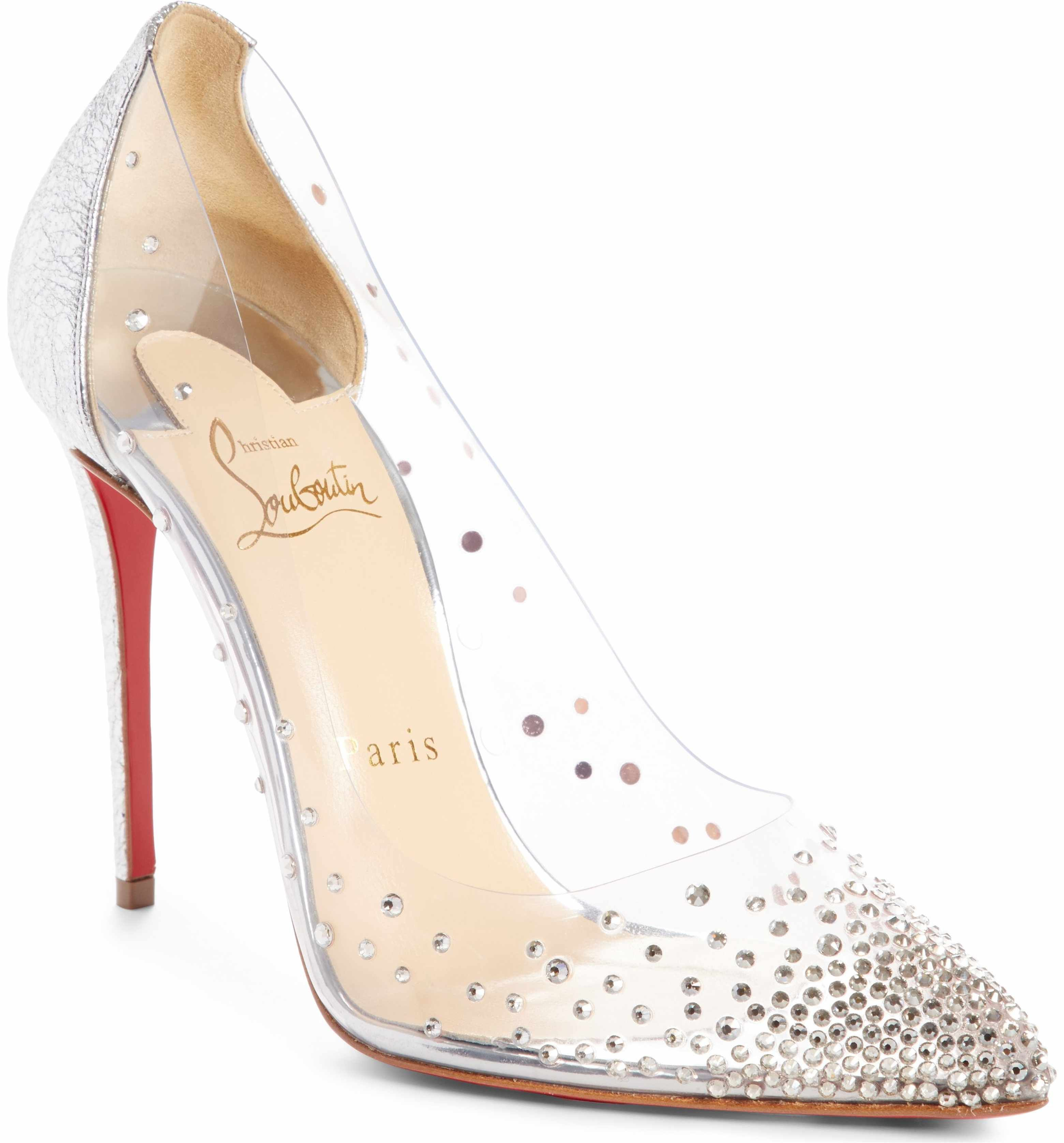 4baec6e6117 Main Image - Christian Louboutin Degrastrass Clear Embellished Pump ...