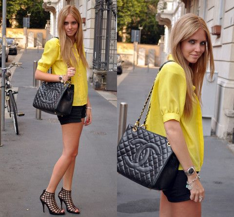 Yellow shirt and Chanel (by Chiara Ferragni) http://lookbook.nu/look/905841-Yellow-shirt-and-Chanel