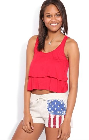 Distressed Flag Print Athletic Short With Ribbed Waistband