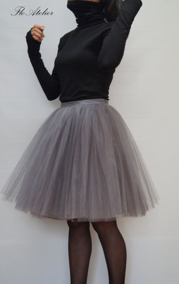Women Tulle Skirt/Tea Length Tutu Skirt/Princess Skirt/Wedding Skirt/Knee Length Skirt/Gray Skirt/Grey Tutu Skirt/Grunch Skirt/F1294