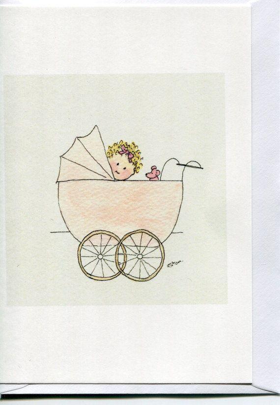 Birth card-Stork Birth Baby Card Girl Boy Photo Cards