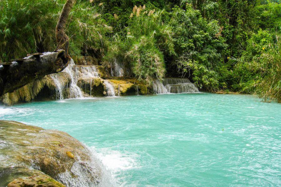 Deep blue water basins at Kuang Si Falls, Laos. Perfect for swimming!
