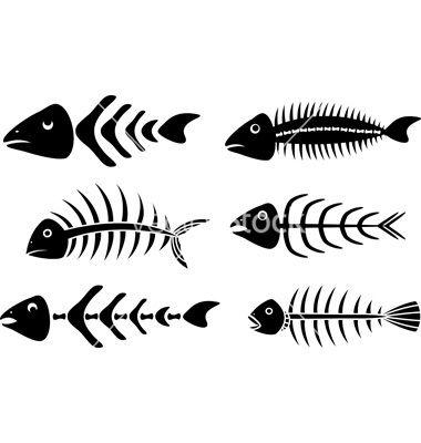 Various Fishbones Stencils Vector Image On Vectorstock Fish Painting Fish Art Stencils
