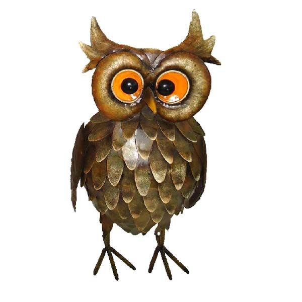 Ornamental Feathered Owl   Small Metal Garden Ornament