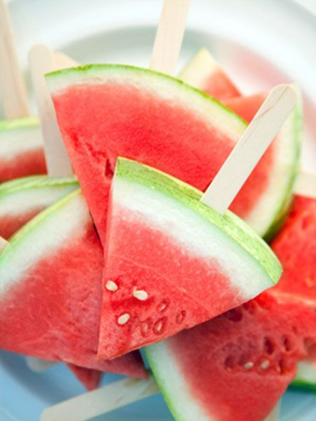 Watermelon popsicles!  Summer WILL be back someday...