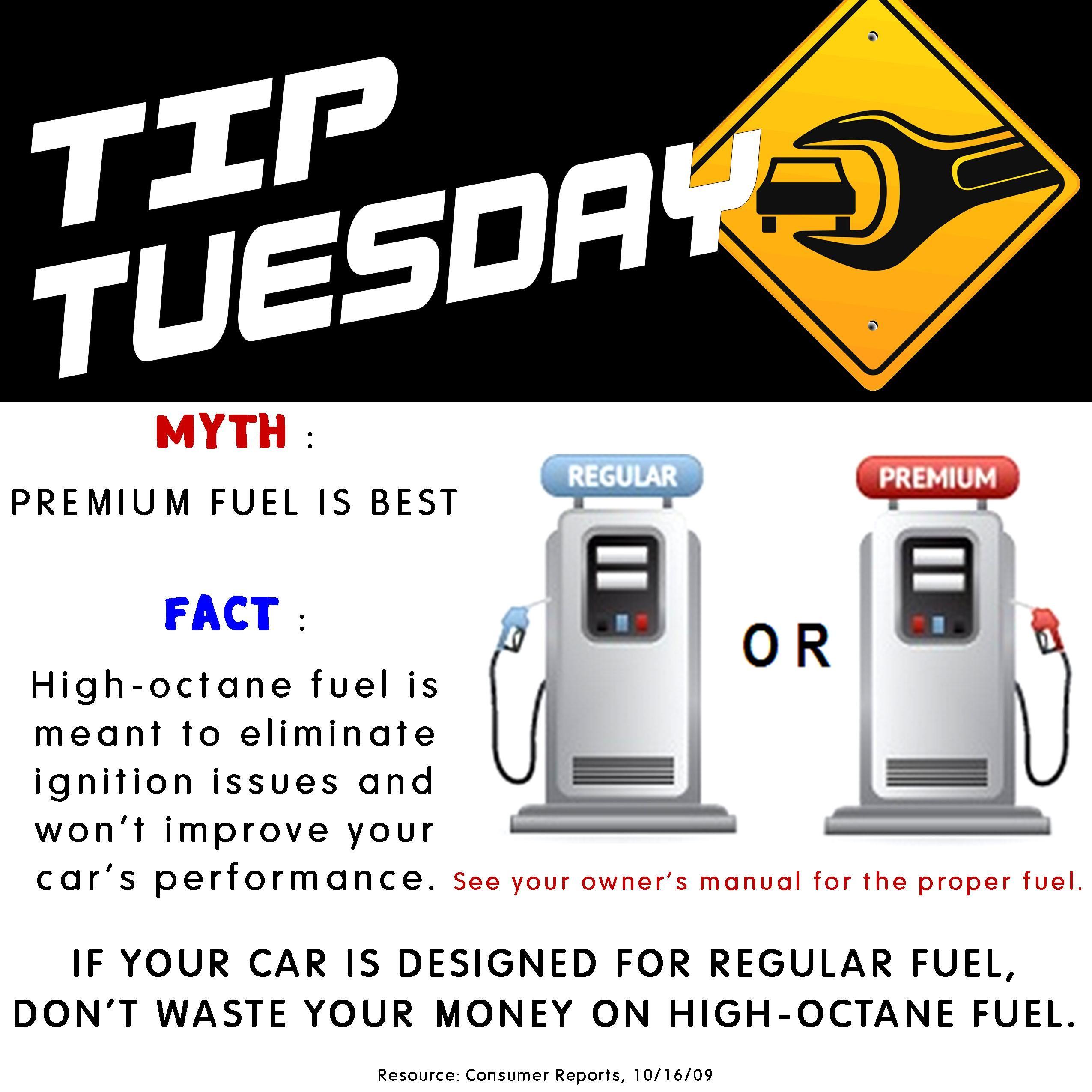 Car Care Tip Premium High Octane Fuel Vs Regular Fuel