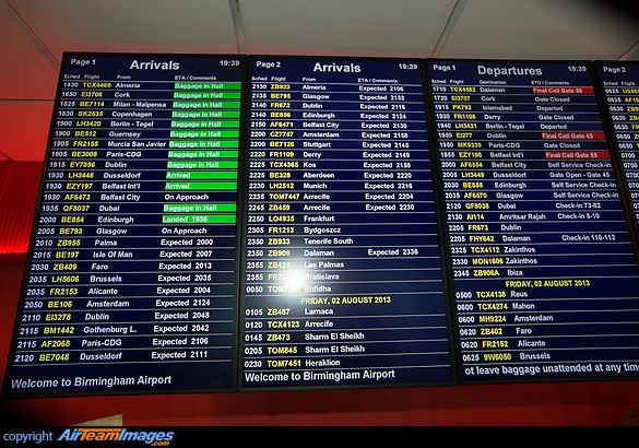 Birmingham Airport Arrivals And Departure Information Board With
