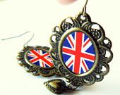 UK flag earrings. British jewelry. London Olympics. Olympic Games. English. United Kingdom. Union Jack. Antique bronze with hearts.