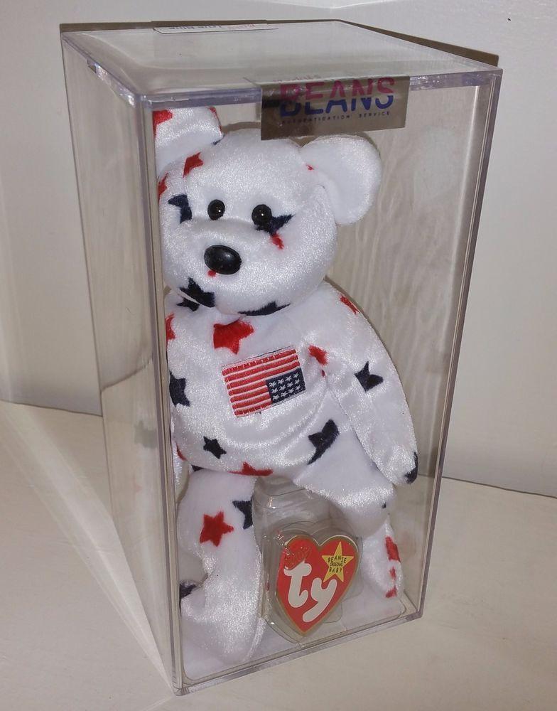 70ac3c3b62f TY ODDITY   Glory Bear UPSIDE DOWN FLAG 1st Gen Beanie Baby Teddy  Authenticated  TY