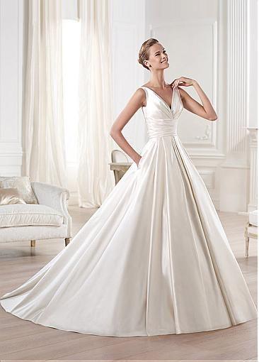 Exquisite Satin A Line V Neck Neckline Empire Waistline Wedding Dress