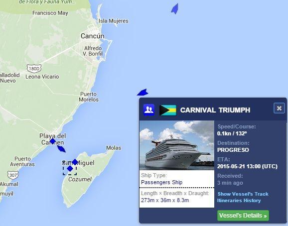 Caribbean Cruise Ship Tracker Show Carnival Triumph In Port Along - Carnival triumph itinerary