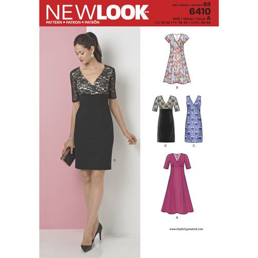 New Look Pattern 6410 Misses\' Dress with Skirt and Fabric Variations ...