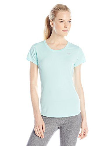 New Balance Women's Accelerate Short Sleeve Tee, Arctic Blue, Medium - http://www.exercisejoy.com/new-balance-womens-accelerate-short-sleeve-tee-arctic-blue-medium/athletic-clothing/