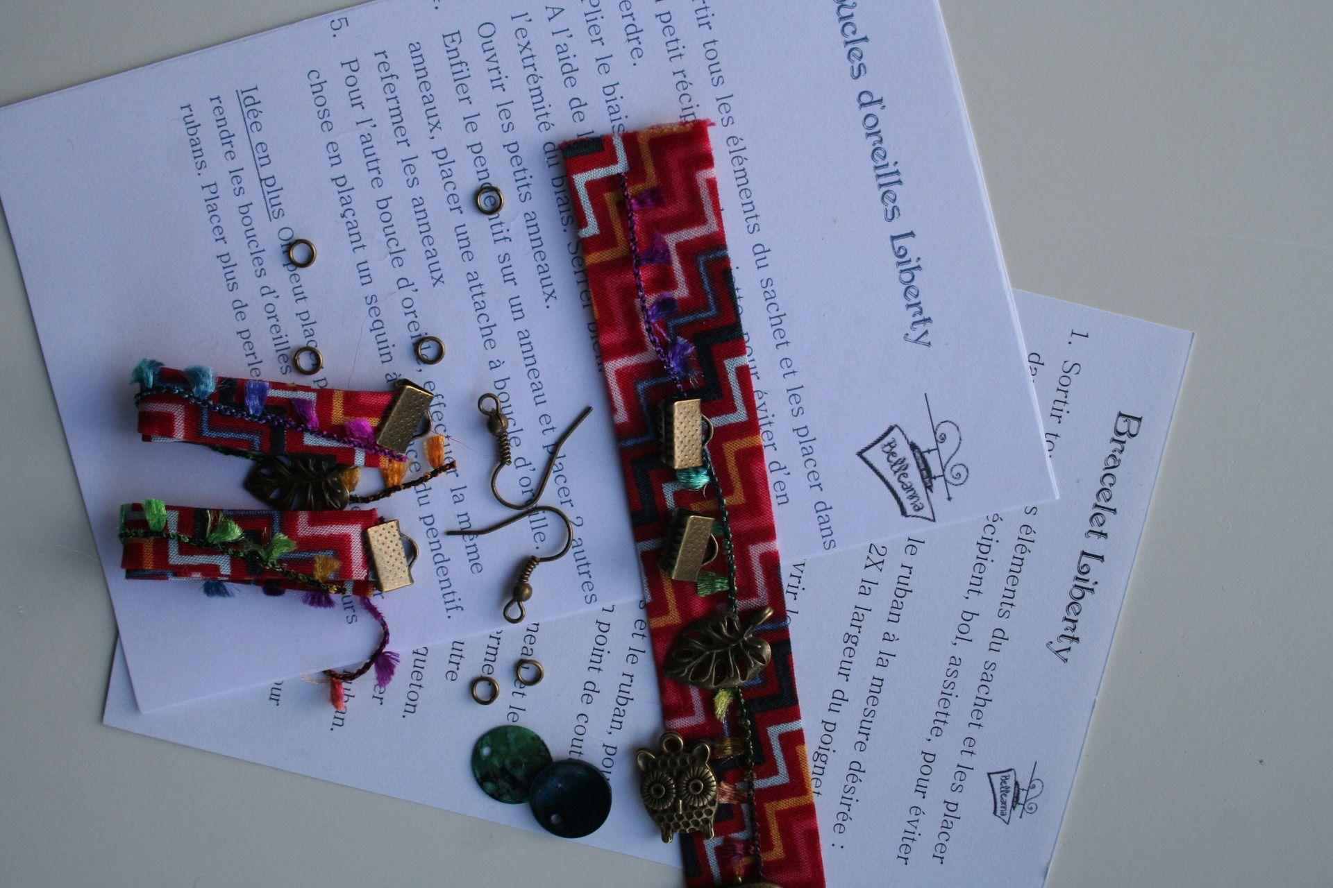 Lots: kit bracelet + boucles d'oreilles en biais rouge motif chevron pour réaliser facilement un joli bracelet : Kits, tutoriels bijoux par belleanna