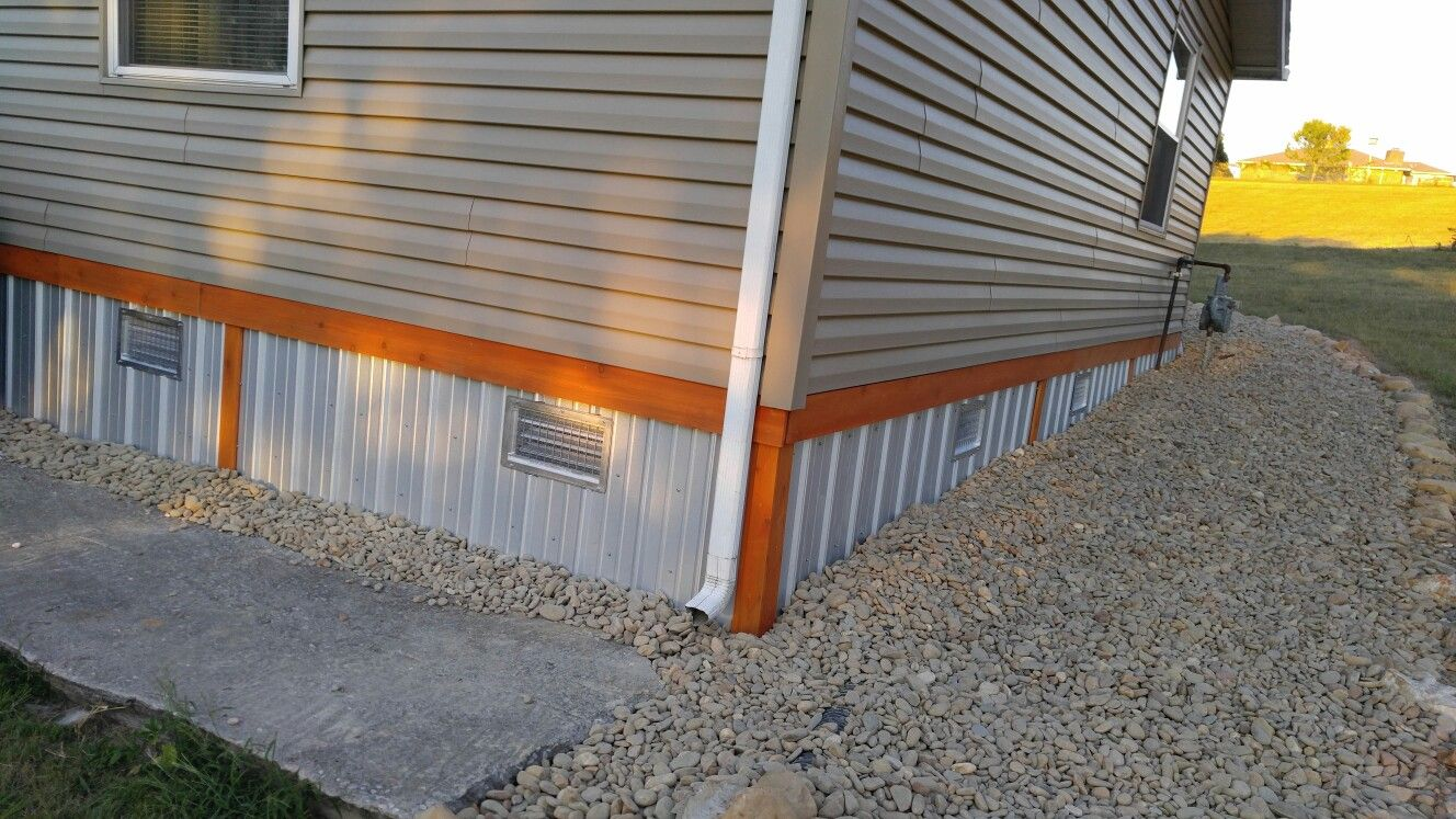 Galvalume Skirting With Cedar Trim Mobile Home Metal