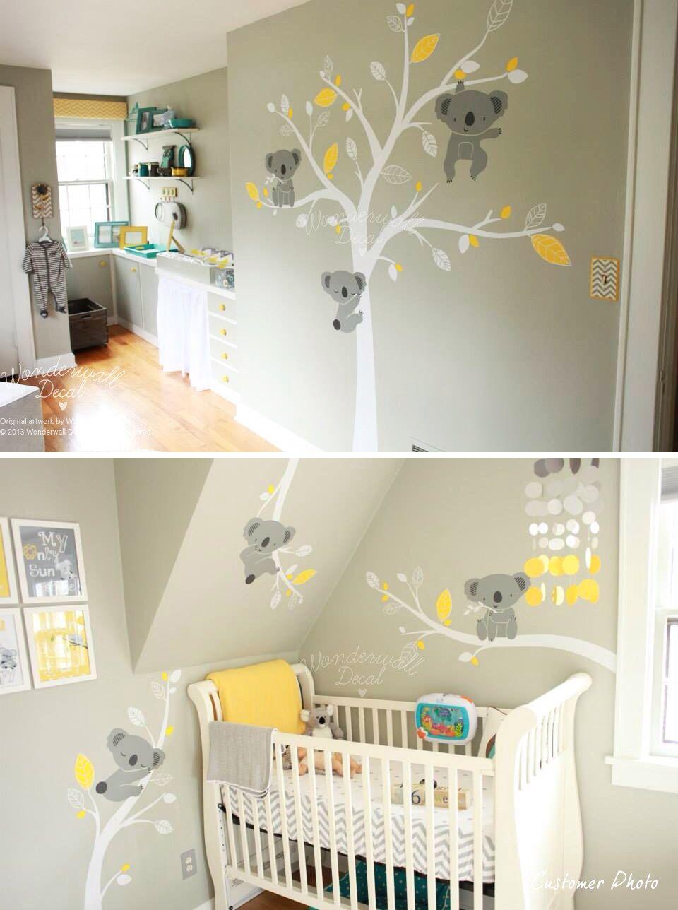 Stickers koala idee bb pinterest woodland animals - Chambre mixte bebe ...