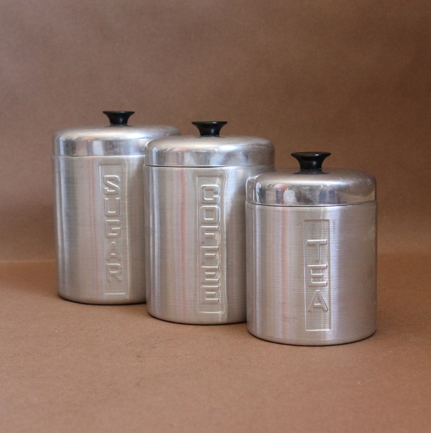 Set Of 3 Aluminum Canisters Made In Italy Vintage Kitchen